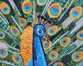 Pretty as a Peacock, 5x7 ORIGINAL COLLAGE ART