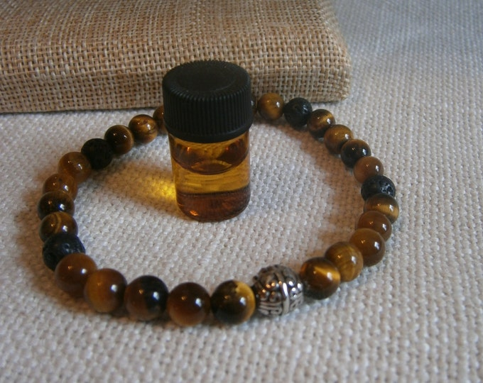 Featured listing image: Aromatherapy Stretch Bracelet Natural Gemstone Lava Stone Essential Oil Tiger Eye Brown Tan Jewelry Bead