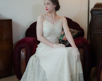 Vintage 1930s Wedding Dress - Lovely Off White Sheer Chantilly Lace 30s Bridal Gown with Built In Slip