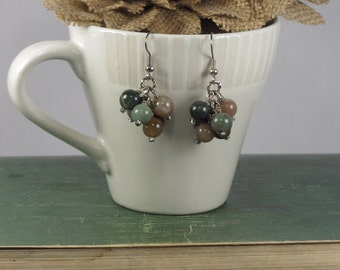 Dangle earrings with multi color jasper beads
