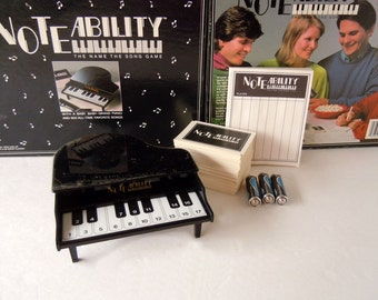 Vintage 1990 Noteability Name The Song Game With Miniature Baby Grand Piano Tiger Games Music Game