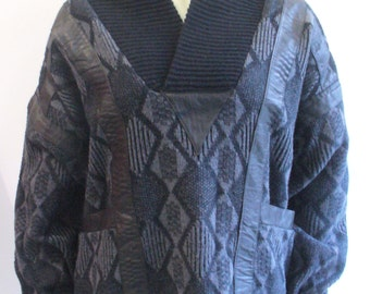 Vintage Black and White Patterned Button Up Sweater