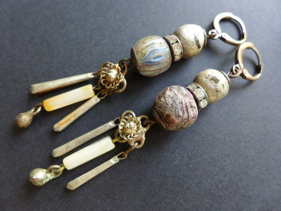 Overcast. Grey Victorian tribal assemblage earrings