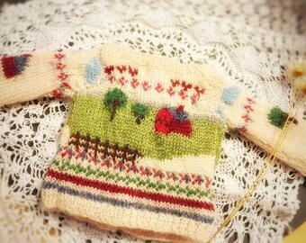 jiajiadoll- hand knitting- 2 way wear Happy Farm sweater fits Momoko Or Blythe Or Misaki