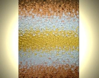 Original Abstract Painting, Metallic Art, Modern Palette Knife Painting, 36x24, Lafferty Save 22% Off