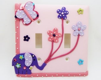 Elephant, Butterfly, Flowers Double Light Switch or Outlet Cover - Pink, Purple, Lavender - Elephant Nursery - Children's Elephant Decor