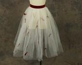 vintage 50s Tulle Skirt - White Mesh Tutu 1950s Circle Skirt Red Velvet Bow Skirt Party Skirt Sz XS S