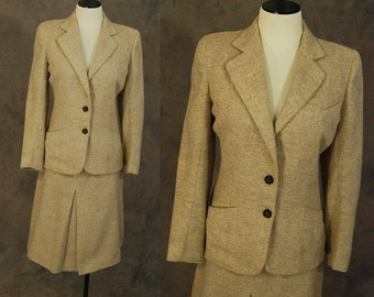 vintage 40s Suit - 1940s Tan Herringbone Wool Suit Blazer Jacket and Skirt Set Sz S