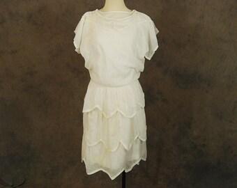 Clearance Sale vintage 20s Dress - 1920s Sheer White Cotton Dress - Art Deco Lawn Dress Flapper Dress AS IS Sz XS