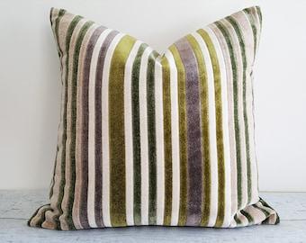 Cream Green Pillow Covers, Textured Throw Pillows, Mauve, Amethyst, Velvet Stripe Pillow, Neutral Home Decor, 12x18 Lumbar, 18x18, NEW