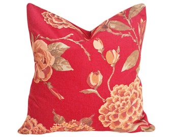 Red Floral Pillow Covers, Rusty Red Decorative Pillows, Roses, Hydrangea Flowers, English Country Pillow, Lumbar, 12x18, 18, 20, 22, 24, 26