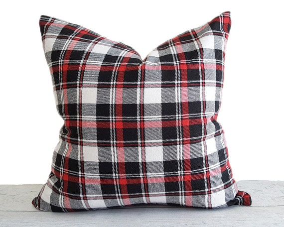 Red Plaid Throw Pillow Cover : White Black Red Plaid Pillow Cover Black White Plaid Pillows