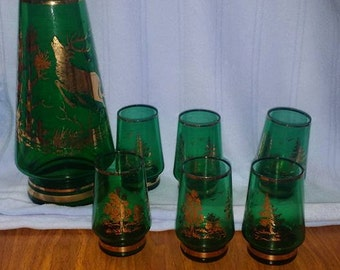Vintage Whiskey Decanter and green glasses