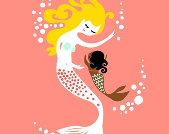 """8X10"""" mermaid mother & baby girl giclee print on fine art paper. coral, light turquoise, blonde, chocolate skin."""