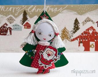 Christmas Tiny Girl with Santa, Art doll brooch, Christmas gift, christmas ornament