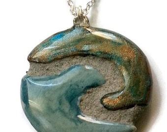 Ocean Wave Mosaic Tile Reversible Necklace