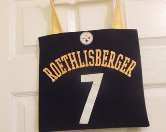 Up cycled Re cycled T Shirt Tote Bag Pittsburgh Steelers