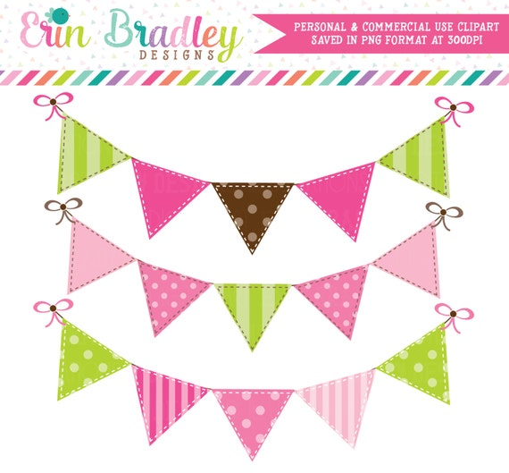 Pink and Green Bunting Clip Art Commercial Use Digital Clipart Graphics