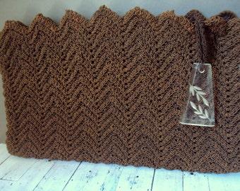 1940s Brown Crochet Clutch Lucite Zipper Pull Evening Bag Art Deco Cord