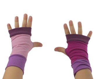 Toddler Arm Warmers in Mismatched Pink - Rose Lilac Pink - Fingerless Gloves - ONLY PAIR