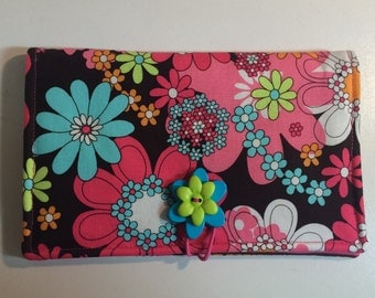 Flower Power Pink Brown Aqua Blossoms Coupon Wallet