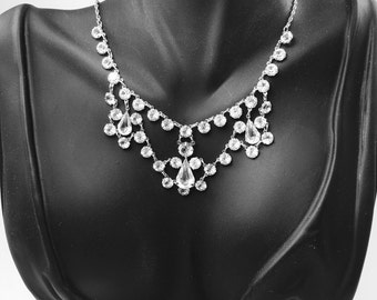 Art Deco Necklace, Open Back Crystal, White Gold, Wedding Bridal Jewelry, 1920's Jewelry, Great Gatsby Jewelry