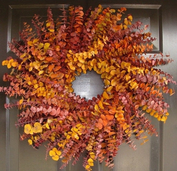 Fall Wreath- Fall Colors Eucalyptus Dried Floral Wreath- Eucalyptus Wreath- Thanksgiving Wreath Decor