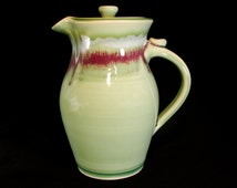 Green Lidded Pitcher - Water Pitcher - Ceramic Pitcher - Pottery Pitcher - Pitcher Pottery - Stoneware Pitcher - Drinking Pitcher - inStock