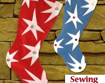 NEW | Funky Star Christmas Stocking Pattern | PDF sewing pattern | Do it yourself Tutorial | 2 sizes included | Instant download