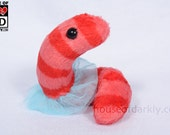 Fancy Worm plush with tutu in pink and red stripe