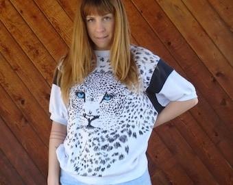 extra 30% off SALE ... Cheetah Print Dolman Sweat Shirt Top - Vintage 80s - MEDIUM LARGE