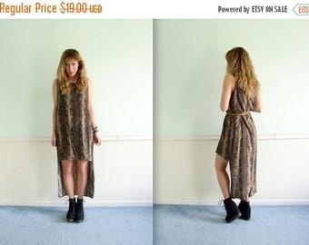 30% off ... 90s Snake Printed Sleeveless Hi Low Hem Maxi Dress - Vintage - Small S Medium M