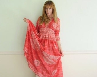 30% off ... 70s Lava Red Mandala Printed Empire Waist Maxi Dress Gown - Vintage - SMALL S