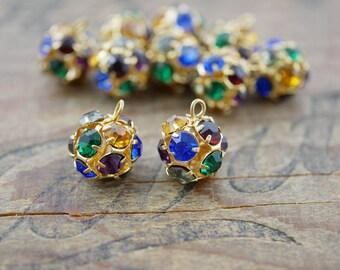 Rhinestone Ball Beads Gold Ball Beads Vintage (2) FC110-S