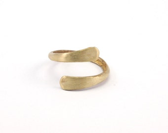 Brass Spiral Ring - 4 Raw Brass Spiral Adjustable Rings N052