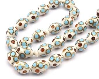 Organic Handmade Egypt  Camel Bone Beads  14mm x 9.5 mm 34pcs T024
