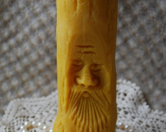 Beeswax Candle Tall Tree Man - Green Man - Old Man of the Woods - Pine Forest Pillar