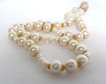 Sale,Akoya Sea Pearl Necklace,Traditional Japanese High Luster Pearl Strand,Long Large Baroque Pearls,Elegant Classic Pearl Necklace,305