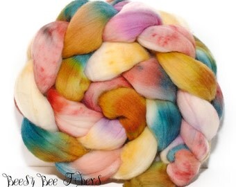 FRUIT - Domestic Merino Hand-Dyed Hand Painted Combed Top Wool Roving Spinning Felting Fiber - 4.2 oz