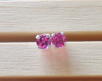 Rhodolite Garnet Stud Sterling Silver Earrings 4mm