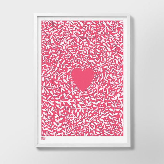 Love Grows Screen Print, Heart Screen Print, Heart Wall Art, Love Wall Poster, Heart Wall Poster, Nature Wall Poster, Pink Wall Art