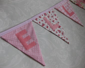 CATH'S ROSES Bunting Banner lovely for a Girl's Room, Party, Celebration or Photo prop can be Personalized Custom Made