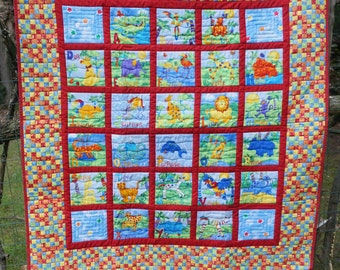 Reversible Alphabet and I Spy Quilt for Baby, Toddler, Crib, Boy or Girl
