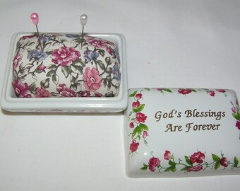OOAK God's Blessing Upcycled Trinket Box now a Pin Cushion