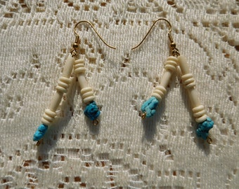 OOAK Native American Style Turquoise and Bone Earrings for Pierced Ears