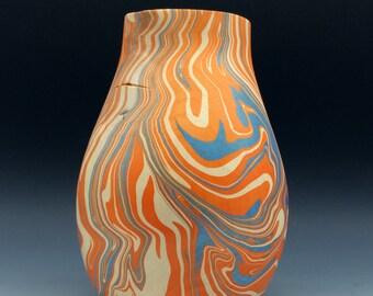 Metamorphosis in Blue and Orange  - Wooden vessel