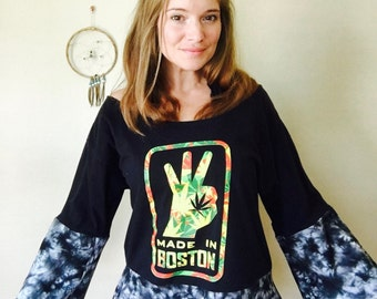 Maryjane Leaf Boston Eco Friendly Cut Out open Off The Shoulder Upcycled Tshirt/Tee/Top/Shirt OOAK One Size
