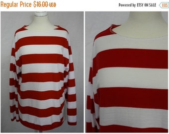 On Sale WHERE'S WALDO? Official Red + White Long Sleeve Breton Striped Cotton Knit Pullover Shirt | Unisex Xxl | Costume Party Top