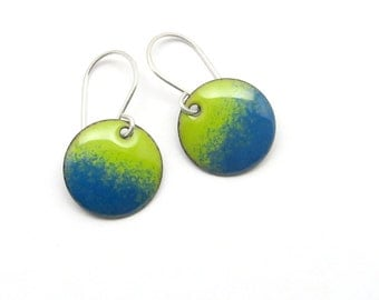 Green and Blue Earrings - Blue Green Earrings - Blue Enamel Earrings - Lime Green Enamel Earrings - Enamel Jewelry