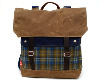 Waxed Canvas Backpack / Blue Lumberjack Wool with Minimalist Leather Closure